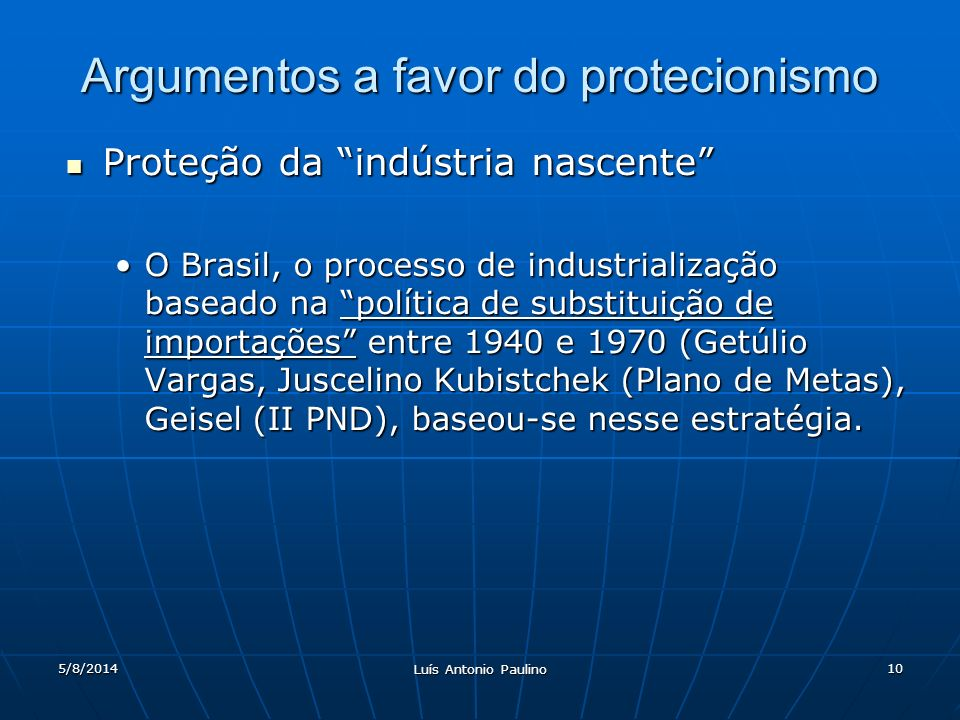 Argumentos a favor do protecionismo
