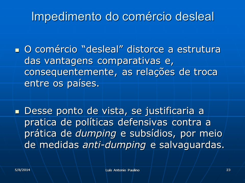 Impedimento do comércio desleal