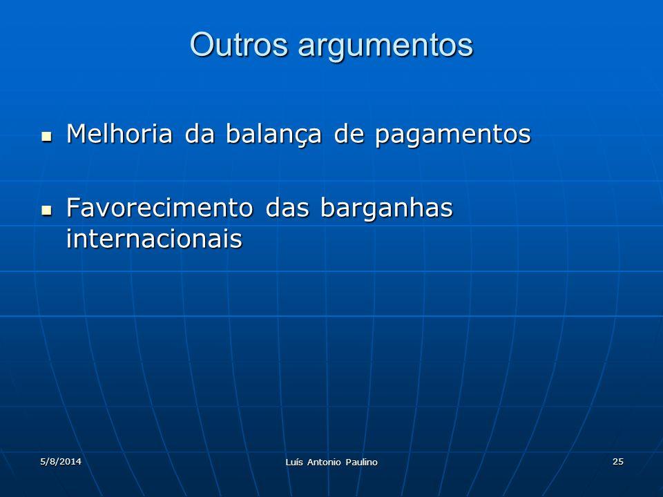 Outros argumentos Melhoria da balança de pagamentos
