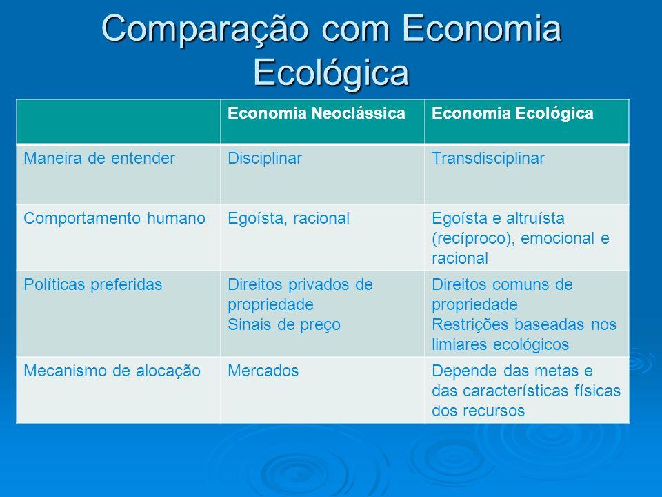 Comparação com Economia Ecológica