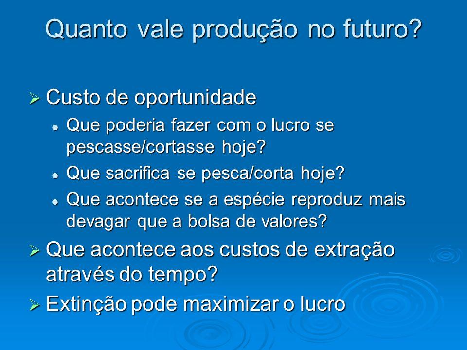 Quanto vale produção no futuro