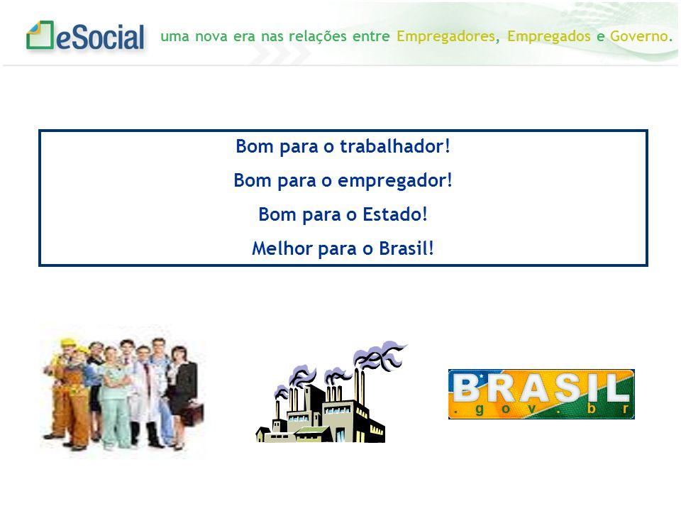 Bom para o trabalhador! Bom para o empregador! Bom para o Estado! Melhor para o Brasil!