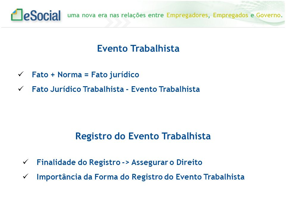 Registro do Evento Trabalhista