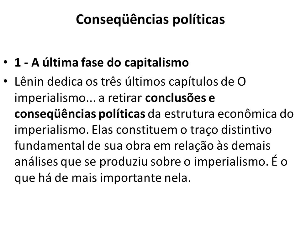 Conseqüências políticas