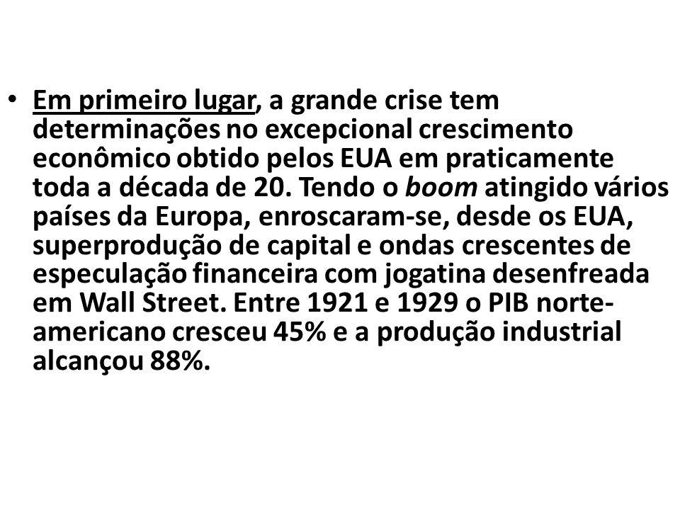 Em primeiro lugar, a grande crise tem determinações no excepcional crescimento econômico obtido pelos EUA em praticamente toda a década de 20.