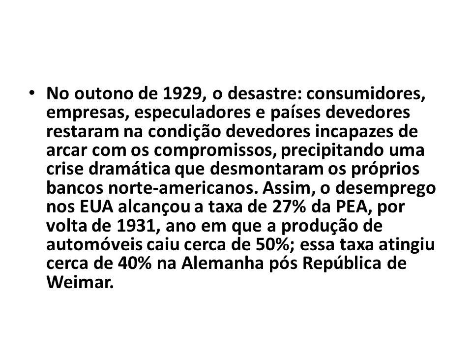 No outono de 1929, o desastre: consumidores, empresas, especuladores e países devedores restaram na condição devedores incapazes de arcar com os compromissos, precipitando uma crise dramática que desmontaram os próprios bancos norte-americanos.