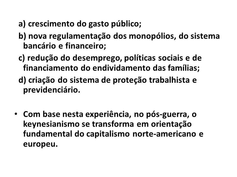 a) crescimento do gasto público;