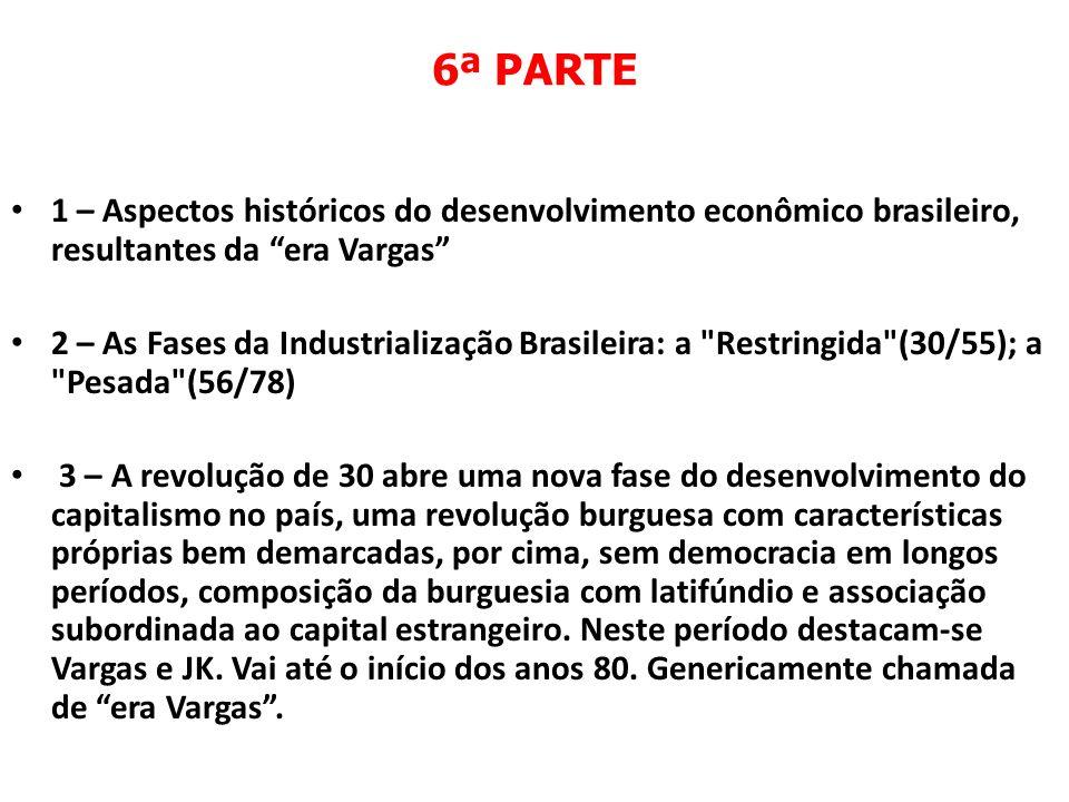 6ª PARTE 1 – Aspectos históricos do desenvolvimento econômico brasileiro, resultantes da era Vargas