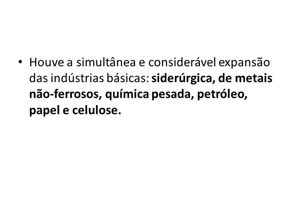 Houve a simultânea e considerável expansão das indústrias básicas: siderúrgica, de metais não-ferrosos, química pesada, petróleo, papel e celulose.