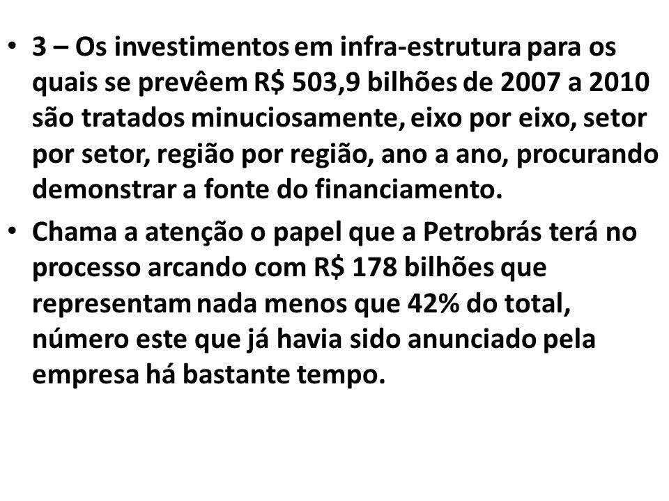 3 – Os investimentos em infra-estrutura para os quais se prevêem R$ 503,9 bilhões de 2007 a 2010 são tratados minuciosamente, eixo por eixo, setor por setor, região por região, ano a ano, procurando demonstrar a fonte do financiamento.