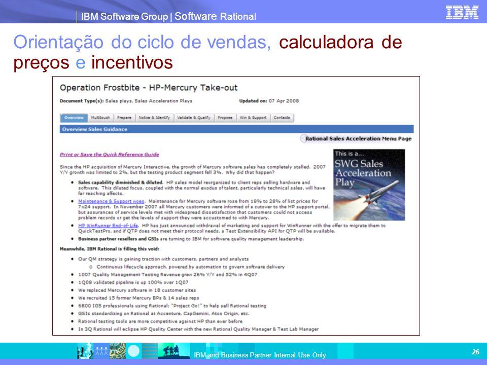 Orientação do ciclo de vendas, calculadora de preços e incentivos