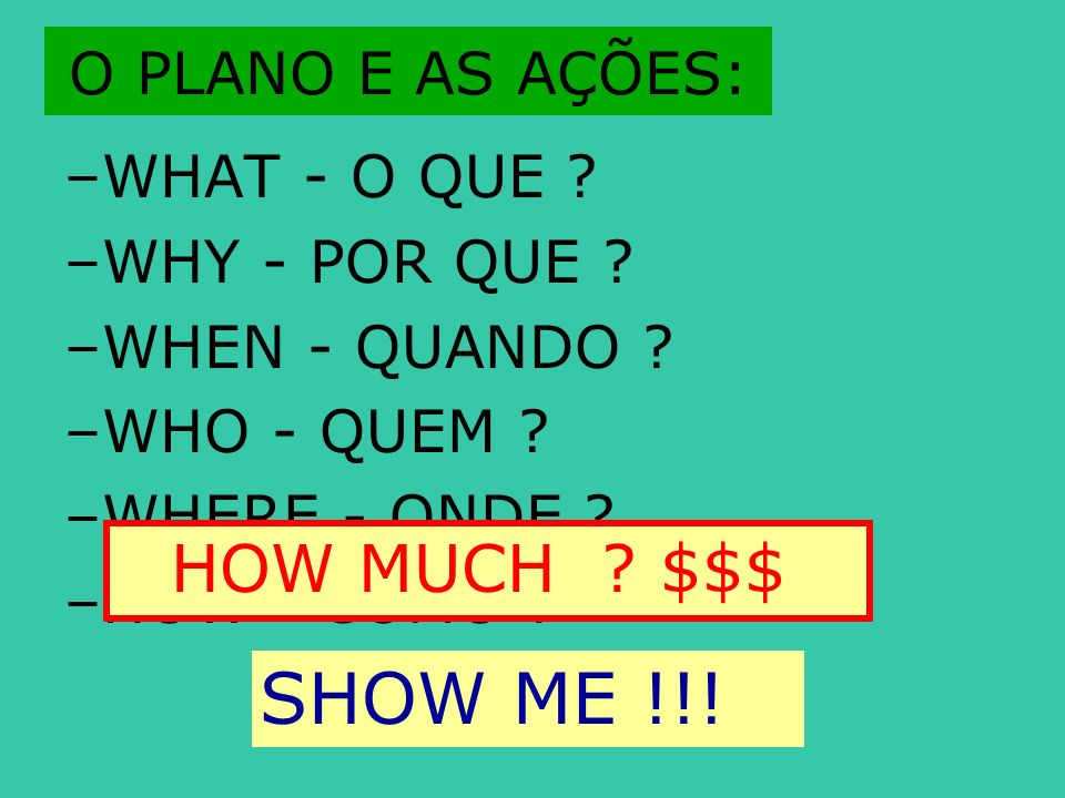 SHOW ME !!! HOW MUCH $$$ O PLANO E AS AÇÕES: WHAT - O QUE