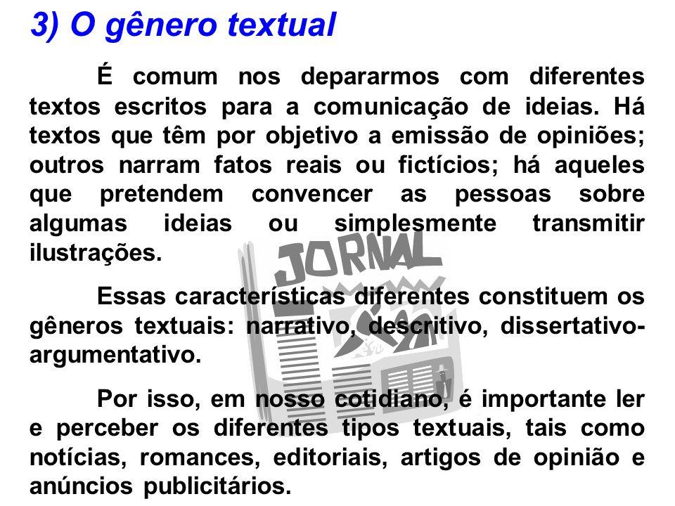 3) O gênero textual