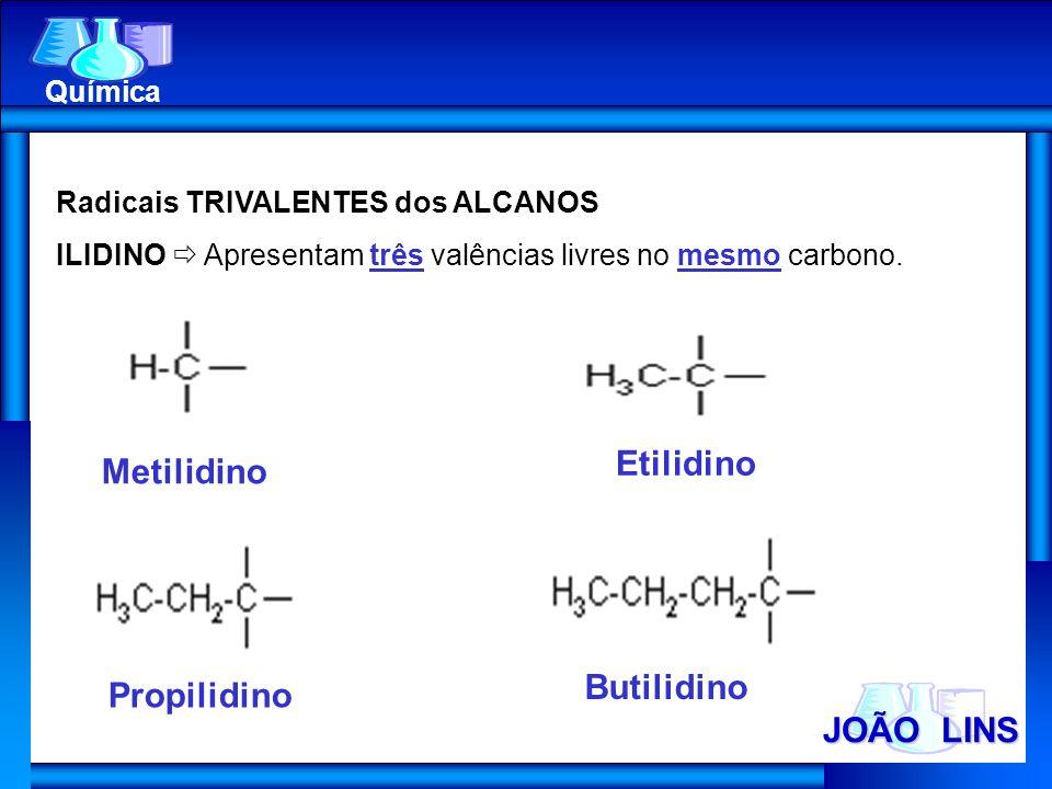 Etilidino Metilidino Butilidino Propilidino JOÃO LINS Química