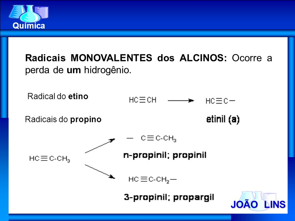 Radicais MONOVALENTES dos ALCINOS: Ocorre a perda de um hidrogênio.