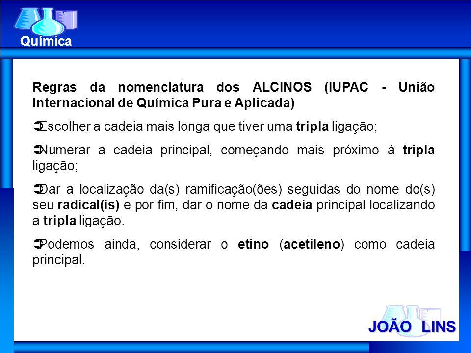 Química Regras da nomenclatura dos ALCINOS (IUPAC - União Internacional de Química Pura e Aplicada)