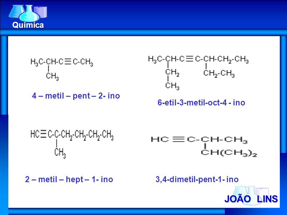 JOÃO LINS Química 4 – metil – pent – 2- ino 6-etil-3-metil-oct-4 - ino