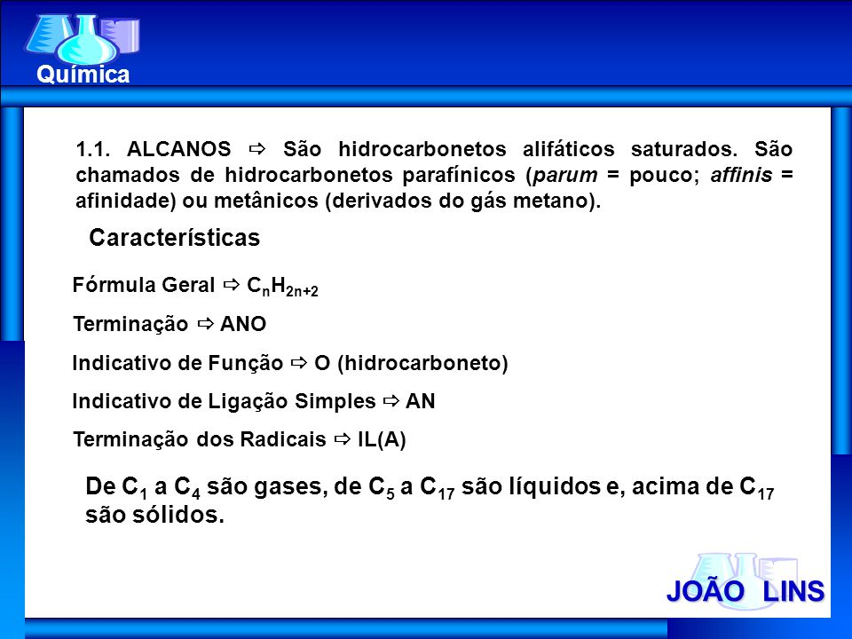 JOÃO LINS Química Características