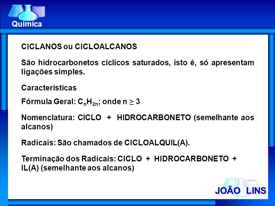JOÃO LINS Química CICLANOS ou CICLOALCANOS