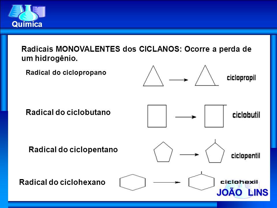 Química Radicais MONOVALENTES dos CICLANOS: Ocorre a perda de um hidrogênio. Radical do ciclopropano.