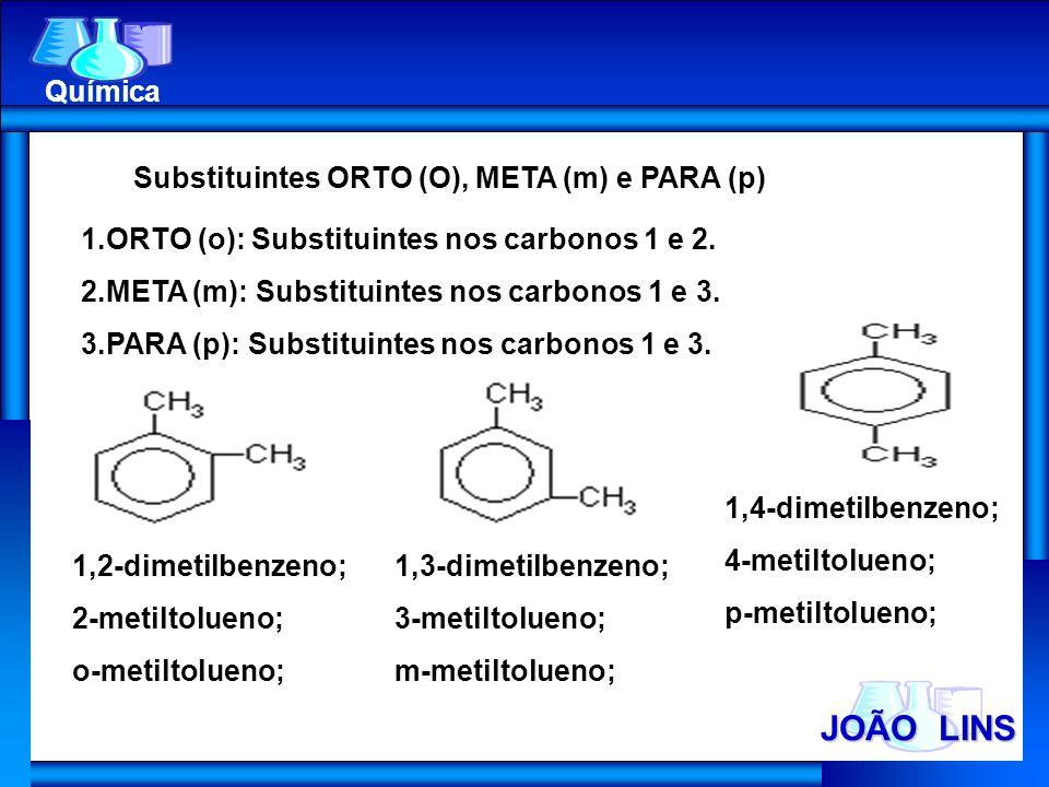 JOÃO LINS Química Substituintes ORTO (O), META (m) e PARA (p)