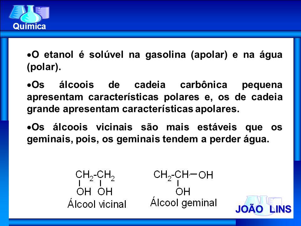 O etanol é solúvel na gasolina (apolar) e na água (polar).