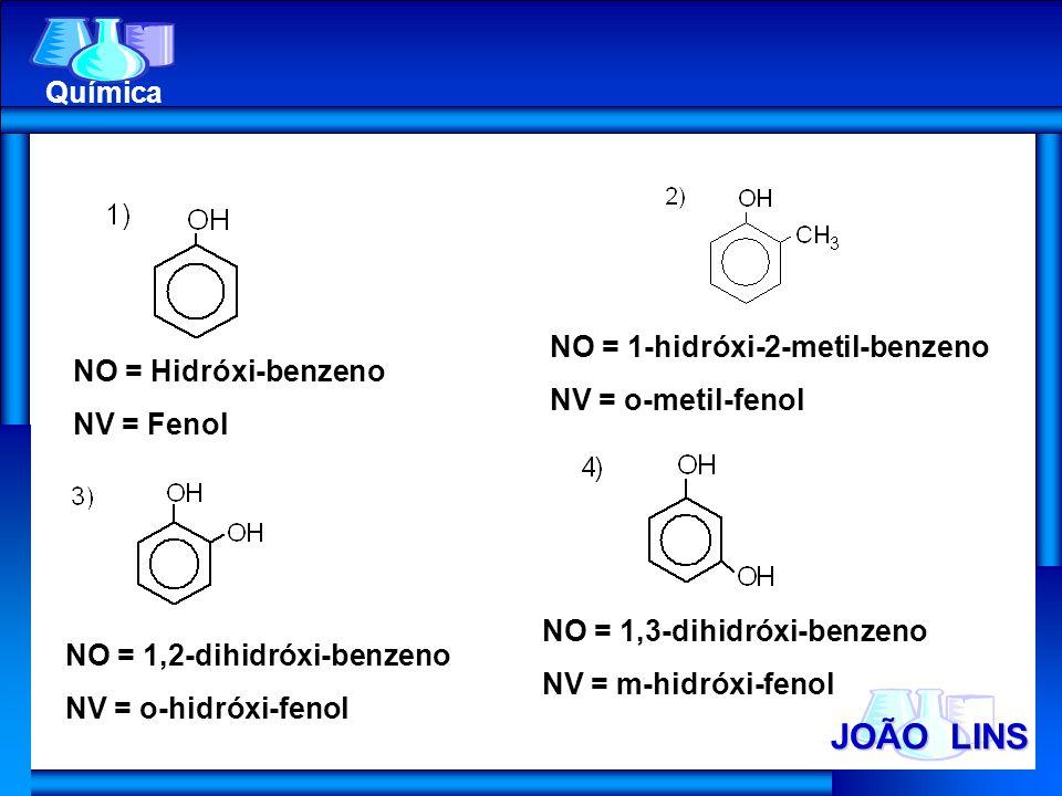 JOÃO LINS Química NO = 1-hidróxi-2-metil-benzeno NV = o-metil-fenol