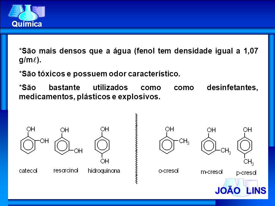 Química São mais densos que a água (fenol tem densidade igual a 1,07 g/m). São tóxicos e possuem odor característico.