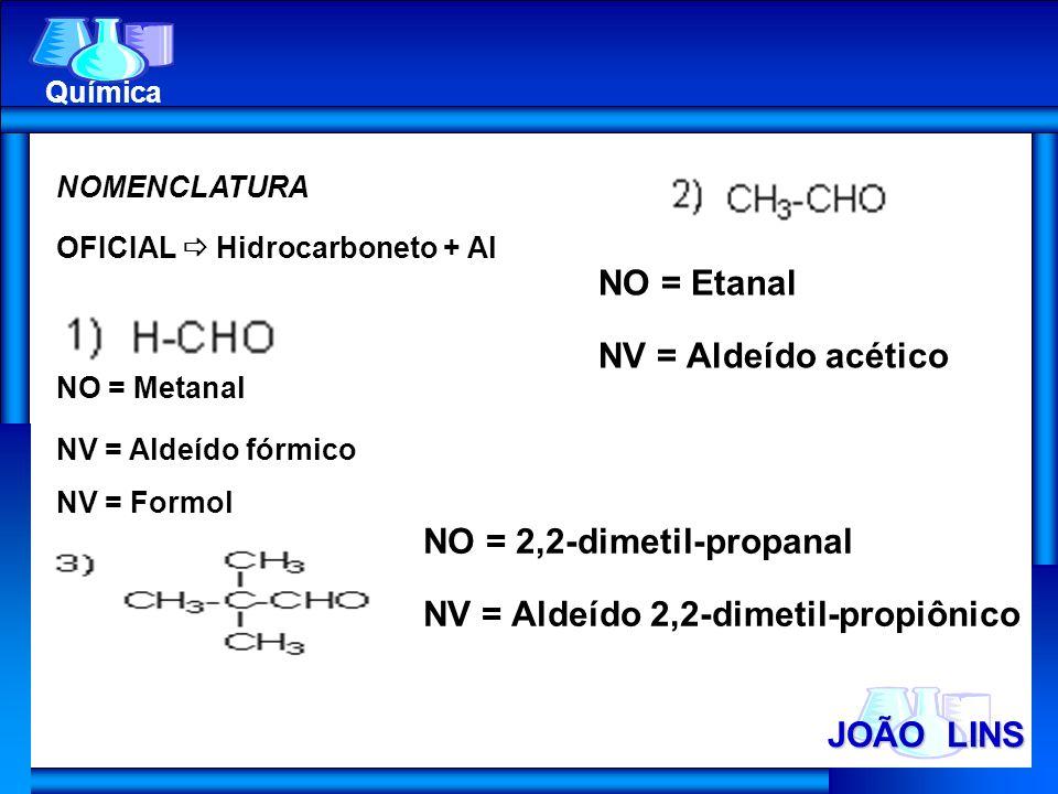 NO = 2,2-dimetil-propanal NV = Aldeído 2,2-dimetil-propiônico