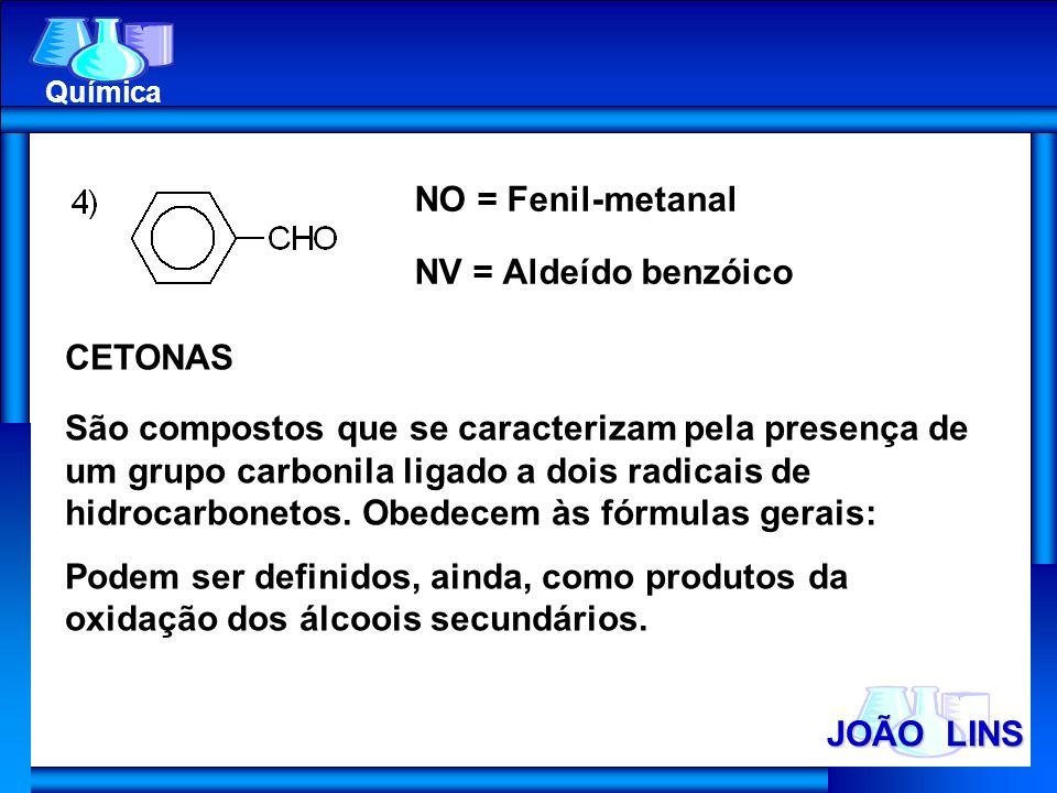 NO = Fenil-metanal NV = Aldeído benzóico CETONAS