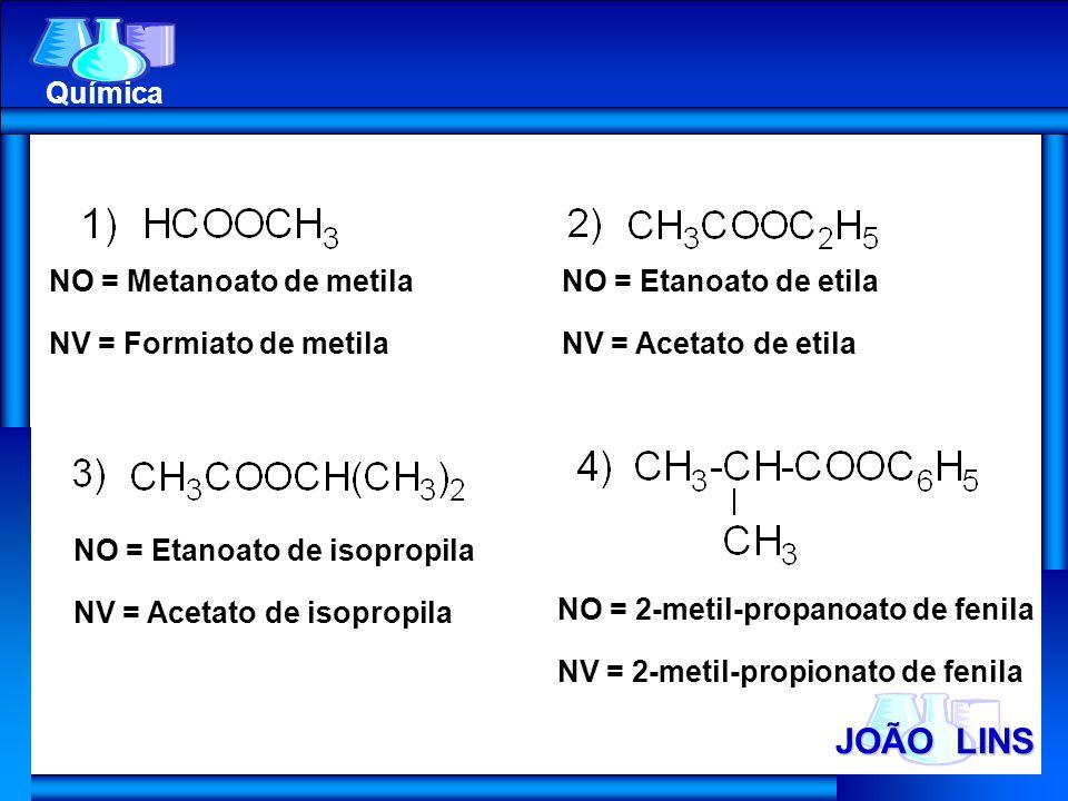 JOÃO LINS Química NO = Metanoato de metila NV = Formiato de metila