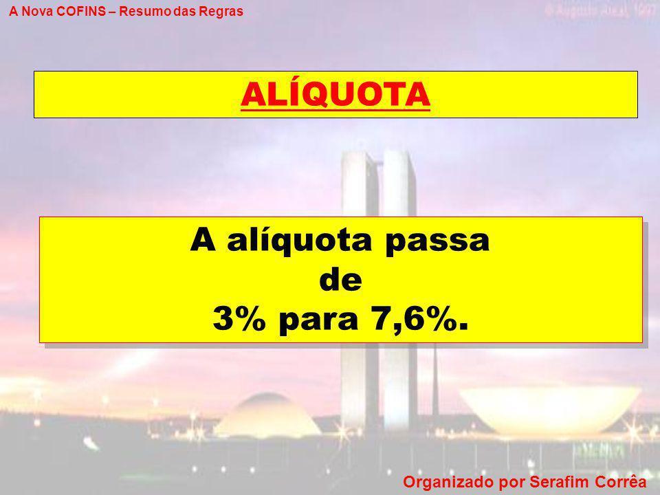 ALÍQUOTA A alíquota passa de 3% para 7,6%.