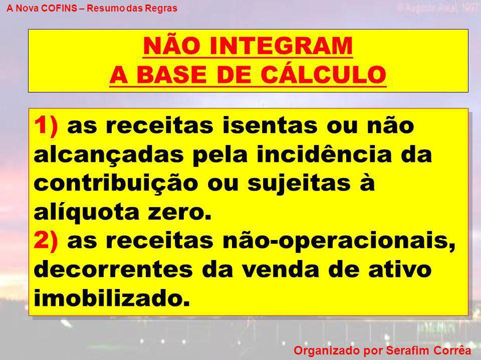 NÃO INTEGRAM A BASE DE CÁLCULO