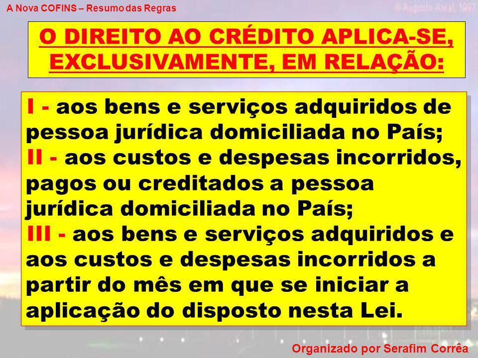 O DIREITO AO CRÉDITO APLICA-SE, EXCLUSIVAMENTE, EM RELAÇÃO: