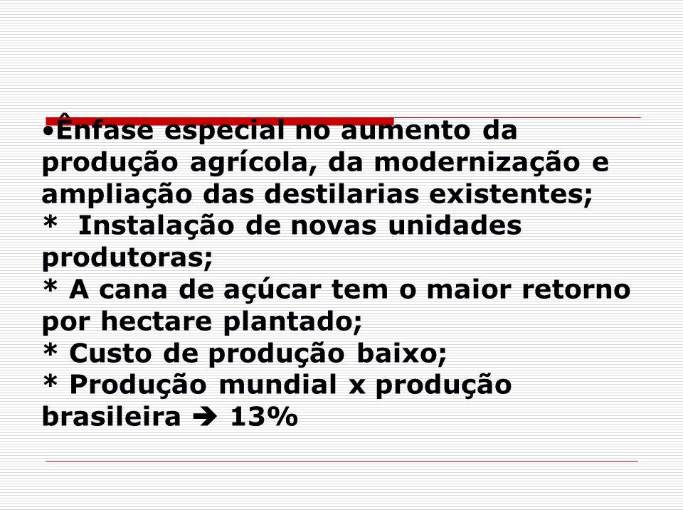 Ênfase especial no aumento da produção agrícola, da modernização e ampliação das destilarias existentes; * Instalação de novas unidades produtoras; * A cana de açúcar tem o maior retorno por hectare plantado; * Custo de produção baixo; * Produção mundial x produção brasileira  13%