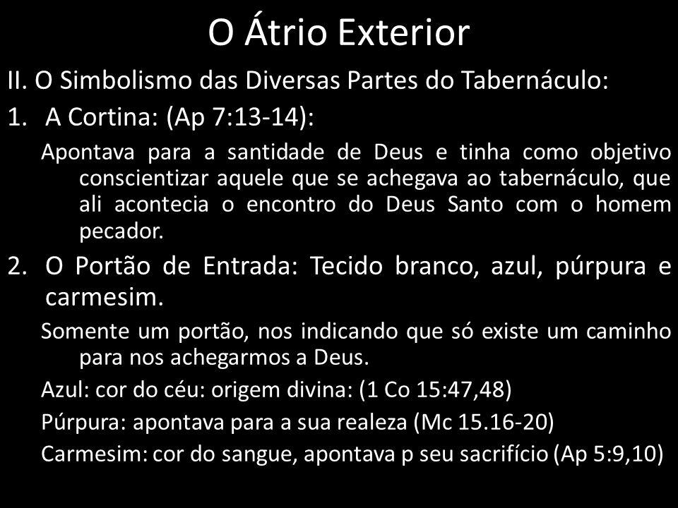 O Átrio Exterior II. O Simbolismo das Diversas Partes do Tabernáculo: