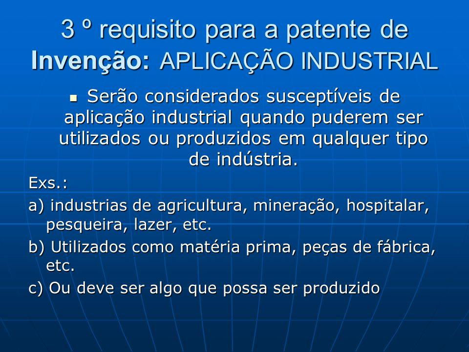 3 º requisito para a patente de Invenção: APLICAÇÃO INDUSTRIAL