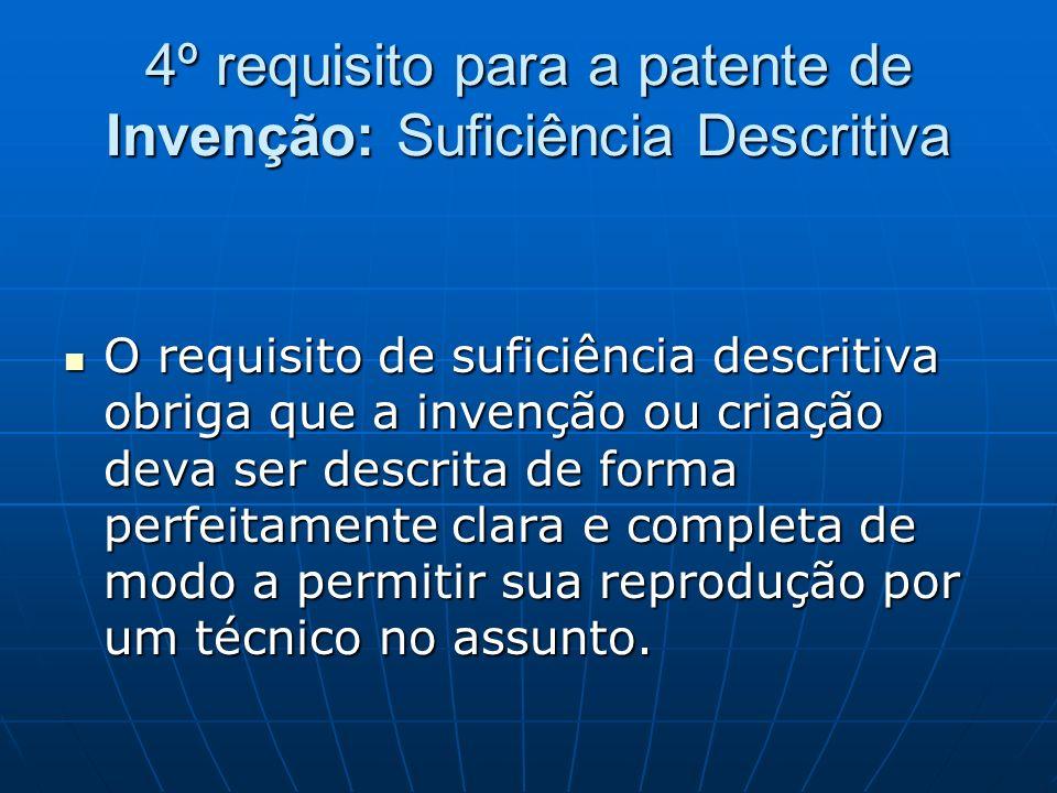 4º requisito para a patente de Invenção: Suficiência Descritiva
