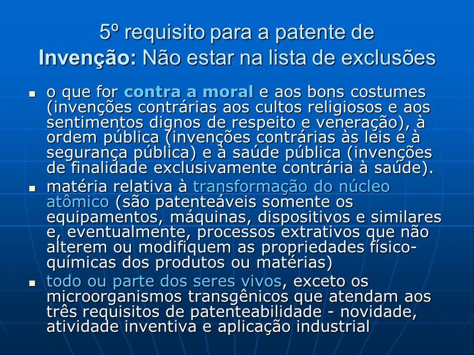 5º requisito para a patente de Invenção: Não estar na lista de exclusões