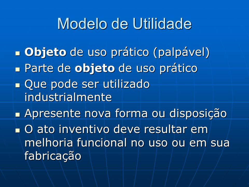 Modelo de Utilidade Objeto de uso prático (palpável)