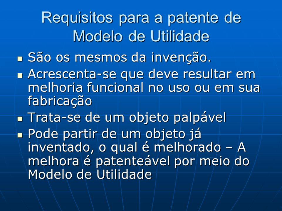 Requisitos para a patente de Modelo de Utilidade