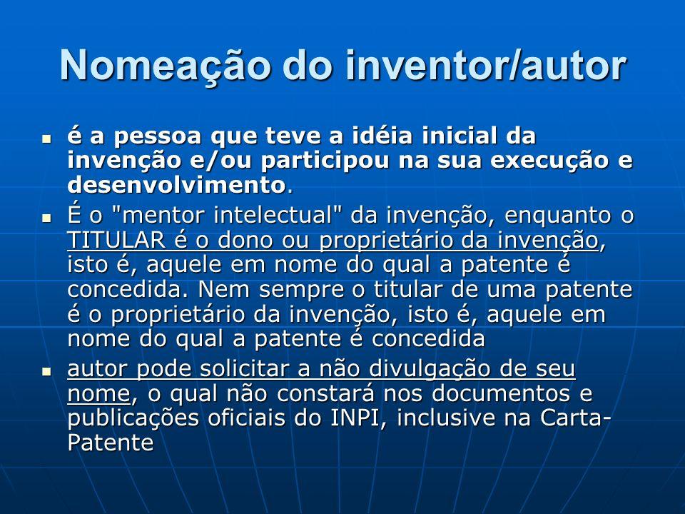 Nomeação do inventor/autor