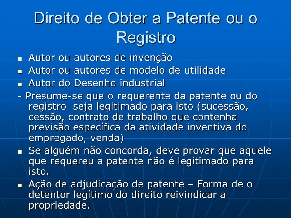 Direito de Obter a Patente ou o Registro