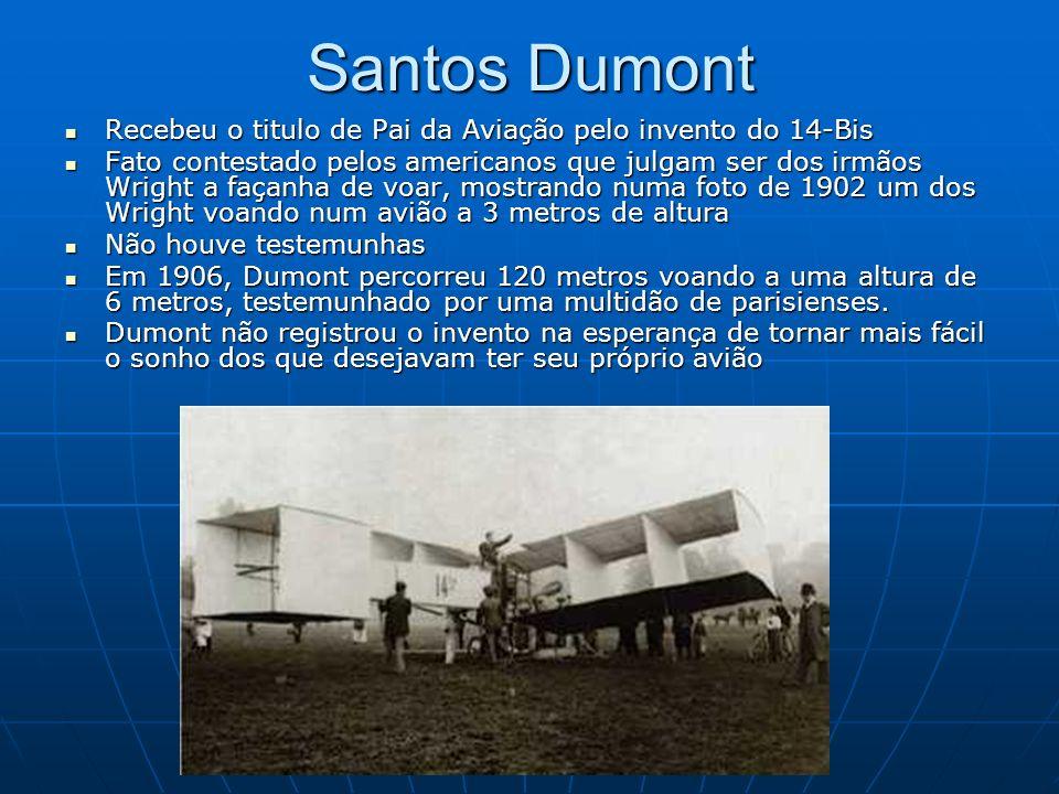 Santos Dumont Recebeu o titulo de Pai da Aviação pelo invento do 14-Bis.