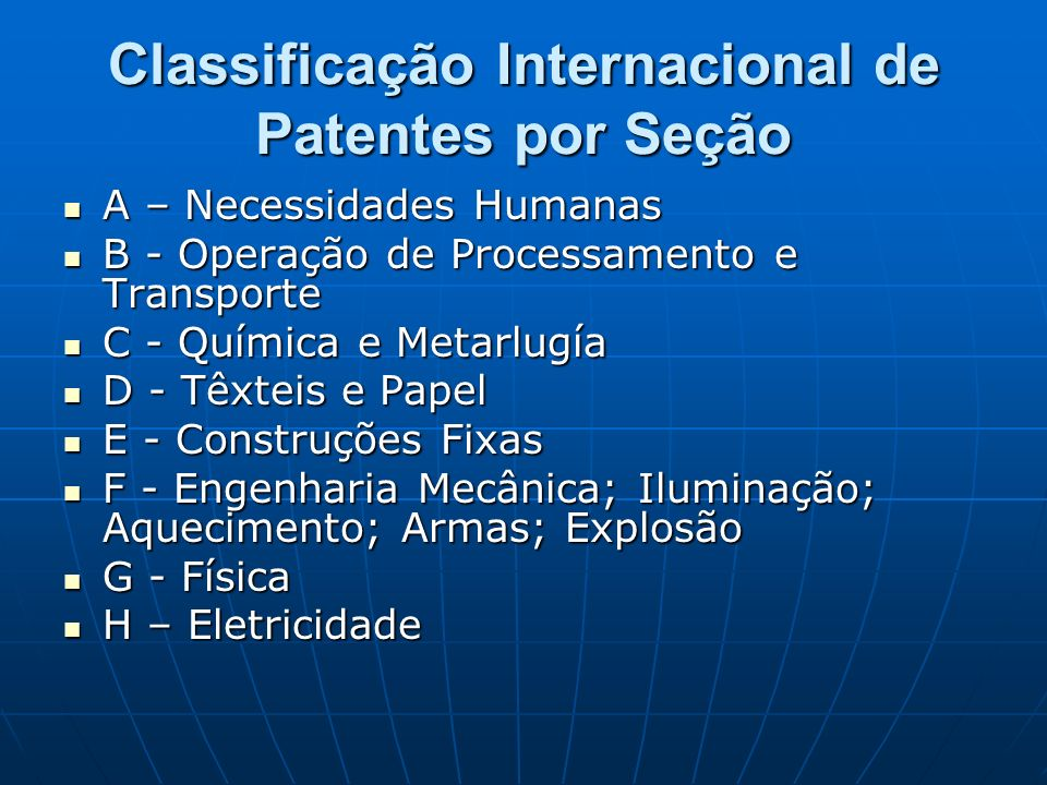 Classificação Internacional de Patentes por Seção