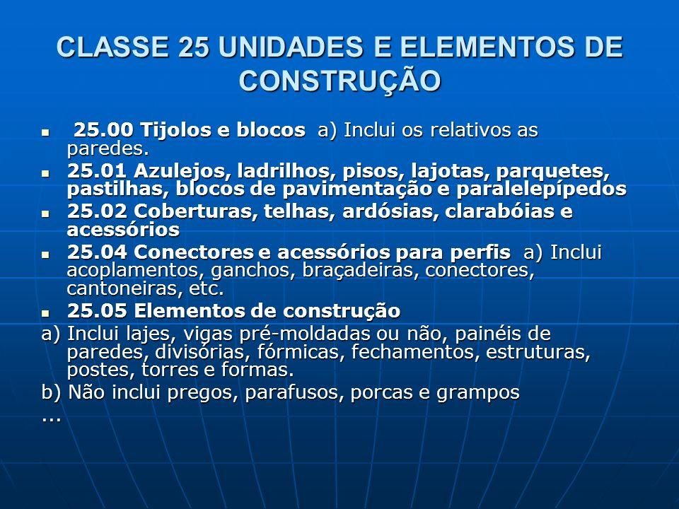 CLASSE 25 UNIDADES E ELEMENTOS DE CONSTRUÇÃO