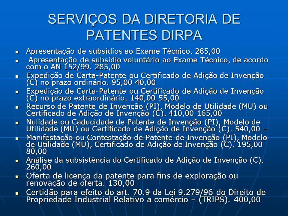 SERVIÇOS DA DIRETORIA DE PATENTES DIRPA