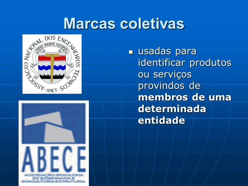 Marcas coletivas usadas para identificar produtos ou serviços provindos de membros de uma determinada entidade.
