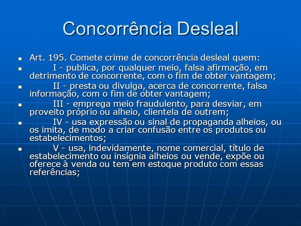 Concorrência Desleal Art. 195. Comete crime de concorrência desleal quem: