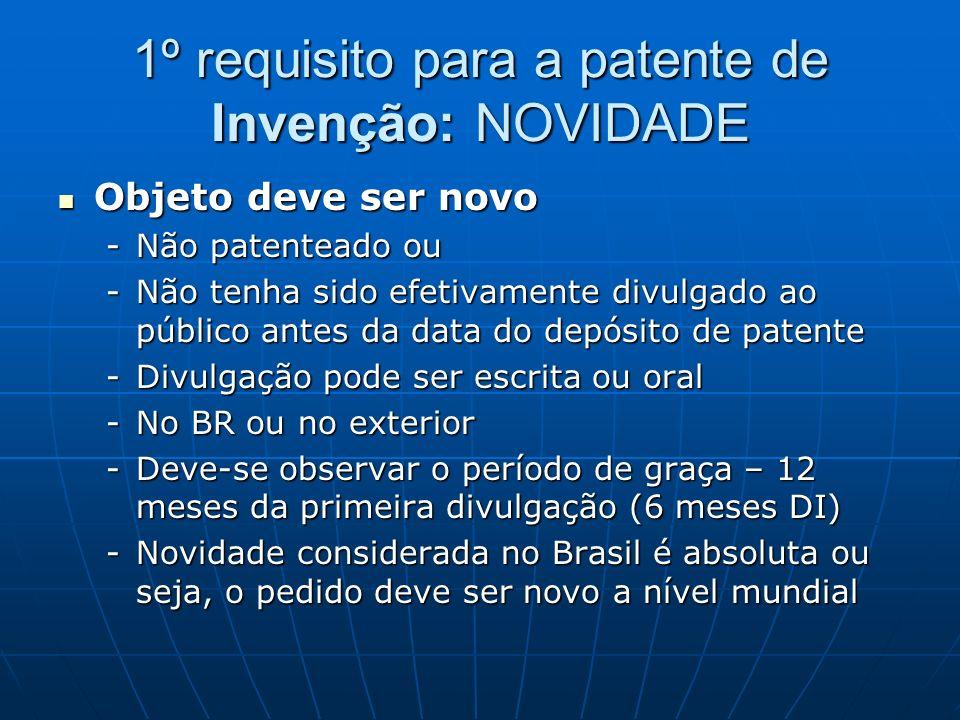 1º requisito para a patente de Invenção: NOVIDADE